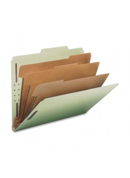 "Letter - 8.50"" Width x 11"" Sheet Size - 3"" ExpansionProng K Style Fastener - 2"", 1"" Fastener Capacity for Divider - 2/5 Tab Cut - 3 Dividers - 25 pt. Folder Thickness - Pressboard - Gray/Green - Recycled - 10 / Box - nat01058"
