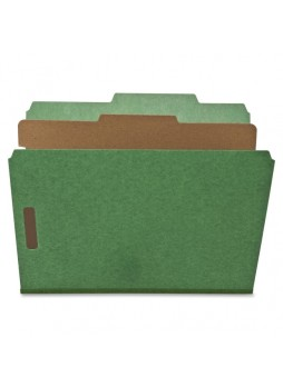 "Letter - 8.50"" Width x 11"" Sheet Size - 2"" Fastener Capacity for Folder - Top Tab Location - 1 Dividers - 25 pt. Folder Thickness - Green - Recycled - 10 / Box - natsp17203"