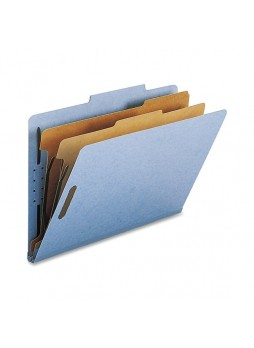 "Legal - 8.50"" Width x 14"" Sheet Size - 2"" Fastener Capacity for Folder - 2 Dividers - 25 pt. Folder Thickness - Blue - Recycled - 10 / Box - natsp17224"