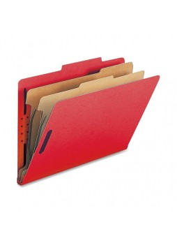 "Legal - 8.50"" Width x 14"" Sheet Size - 2"" Fastener Capacity for Folder - 2 Dividers - 25 pt. Folder Thickness - Bright Red - Recycled - 10 / Box - natsp17225"