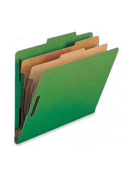 "Legal - 8.50"" Width x 14"" Sheet Size - 2"" Fastener Capacity for Folder - 2 Dividers - 25 pt. Folder Thickness - Green - Recycled - 10 / Box - natsp17226"