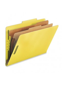 "Legal - 8.50"" Width x 14"" Sheet Size - 2"" Fastener Capacity for Folder - 2 Dividers - 25 pt. Folder Thickness - Yellow - Recycled - 10 / Box - natsp17227"