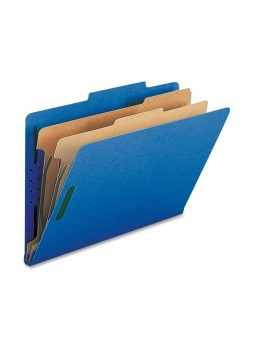 "Legal - 8.50"" Width x 14"" Sheet Size - 2"" Fastener Capacity for Folder - 2 Dividers - 25 pt. Folder Thickness - Dark Blue - Recycled - 10 / Box - natsp17228"