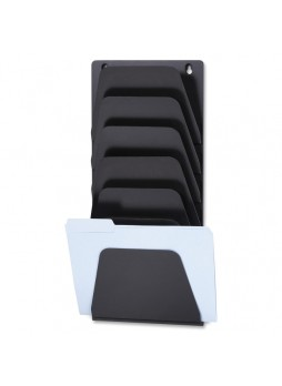 "Wall file folder, 7 Compartment(s) - 22.4"" Height x 9.5"" Width x 2.9"" Depth - Wall Mountable - Black - Plastic - 7 / Pack - oic21505"