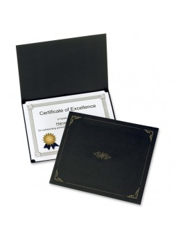 "Certificate holder, Letter - 8.50"" Width x 11"" Sheet Size - Linen - Black - Recycled - 5 / Pack - oxf29900055bgd"