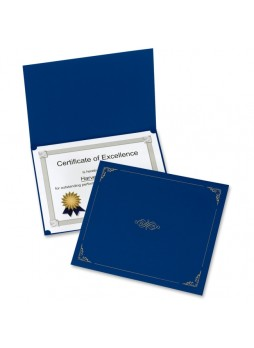 "Certificate holder, Letter - 8.50"" Width x 11"" Sheet Size - Linen - Dark Blue - Recycled - 5 / Pack - oxf29900235bgd"