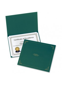 "Certificate holder, Letter - 8.50"" Width x 11"" Sheet Size - Linen - Hunter Green - Recycled - 5 / Pack - oxf29900605bgd"