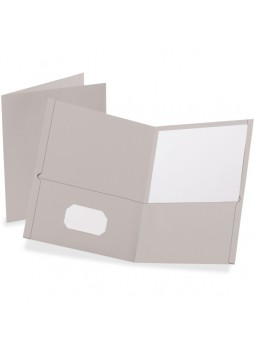 "Letter - 8.50"" Width x 11"" Sheet Size - 100 Sheet Capacity - 2Internal Pockets - Leatherette Paper - Gray - Recycled - 25 / Box - oxf57505"