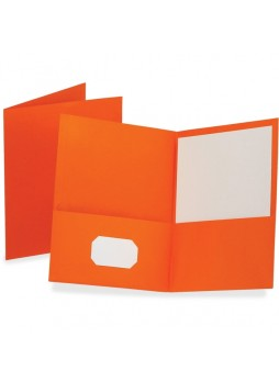 "Letter - 8.50"" Width x 11"" Sheet Size - 100 Sheet Capacity - 2Internal Pockets - Leatherette Paper - Orange - Recycled - 25 / Box - oxf57510"