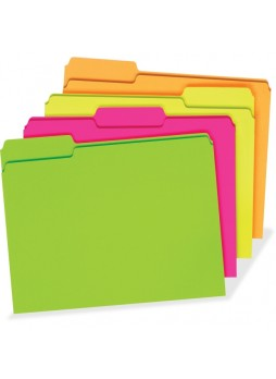 "Letter - 8.50"" Width x 11"" Sheet Size - 150 Sheet Capacity - Assorted Position Tab Location - 11 pt. Folder Thickness - Manila - Fluorescent Pink, Fluorescent Orange, Fluorescent Green, Fluorescent Yellow - 24 / Pack - pfx40523"