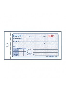 "Receipt book, 50 Sheet(s) - 2 Partes - 2.75"" x 5"" Sheet Size - Assorted Sheet Color - 1 Each - red8l820"