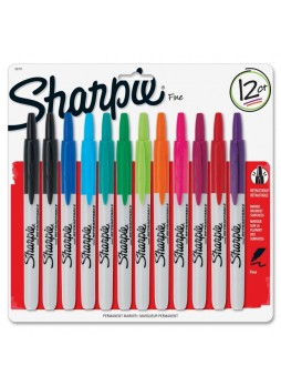 Fine Marker Point Type - Black, Navy Blue, Blue, Turquoise, Green, Lime, Orange, Red, Berry, Plum, Aqua, ... - 12 / Set - san32707