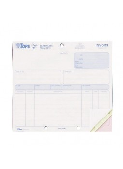 "Receipt book, 3 Partes - 7"" x 8.50"" Sheet Size - 2 x Holes - Assorted Sheet Color - 50 / Pack - top3813"