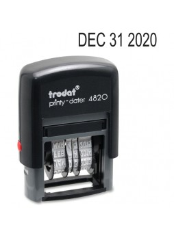 "Date Stamp - 0.38"" Impression Width x 1.63"" Impression Length - 10000 Impression(s) - 4 Bands - Black - Recycled - 1 Each - usse4820"