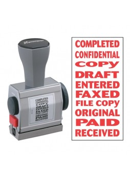 "Message Stamp - ""COMPLETED, CONFIDENTIAL, COPY, DRAFT, ENTERED, FAXED, FILE COPY, ORIGINAL, PAID, RECEIVED"" - 0.19"" Impression Width x 1.50"" Impression Length - Red - 1 Each - xst81041"