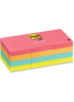 "Post-it 653AN Cape Town Notes, Repositionable, Assorted colors, 1.50"" x 2"", pack of 12"
