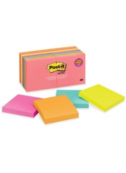 "Post-it 654-14AN Cape Town Notes, Repositionable, 3"" x 3"", Assorted colors, pack of 14"
