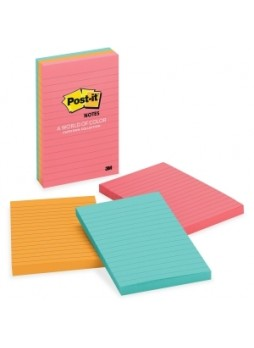 "Post-it 660-3AN Cape Town Lined Notes, Repositionable, 4"" x 6"",Assorted colors, Pack of 3"