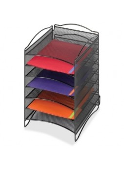 Safco 9431BL Mesh Desktop Organizer, 6 compartment, steel, black, each