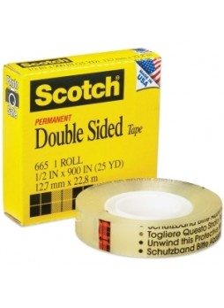 "Scotch 66512900 Double-Sided Tape, 0.5""x75ft, 1"" core, 1 roll, each"