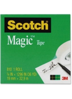 "Scotch 810341296 Magic Invisible Tape, 0.75"" x 36yd, 1"" core, Writable Surface, clear, 1 roll, each"