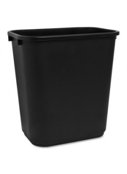 Sparco 02160 Rectangular Wastebasket, 7 gallon, polyethylene, black, each