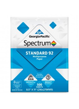 "Georgia Pacific Spectrum, standard multipurpose copy paper, 8.5""x11"", 20lb, 92 brightness, box of 10 - white - GEP999705"