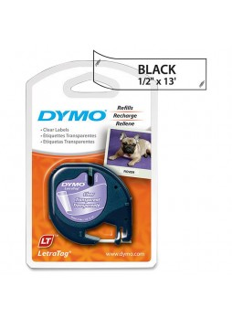 "Dymo 16952 LetraTag 16952 Printer Tape Cassette, 0.50"" x 13ft, Plastic, clear, Each"
