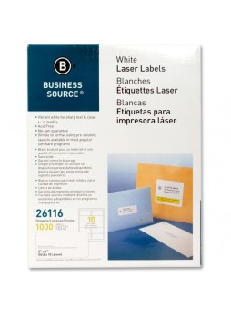 "Business Source Mailing Laser Label, 2"" x 4"", Rectangle, Laser, White, Pack of 1000"