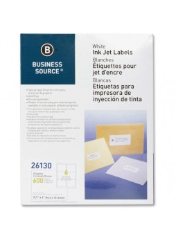 "Business Source Mailing Inkjet Label, BSN26130, 3.33"" x 4"", Rectangle, White, Pack of 600"