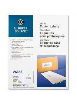 "Business Source Copier Full Sheet Label, BSN26133, 8.5"" x 11"", Pack of 100"