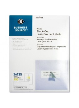 "Business Source Block-out Shipping Laser/Inkjet Label, 2"" x 4"", Rectangle, Laser, Inkjet, White, Pack of 250"