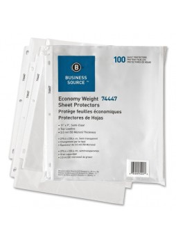 Business Source Top Loading Sheet Protector , BSN74447, Letter size, 2mil thickness, Semi clear, Pack of 100