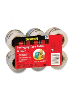 "Scotch Easy-Grip Packaging Tape Dispenser Refill, MMMDP1000RF6, 2"" x 75ft, Clear, Pack of 6"