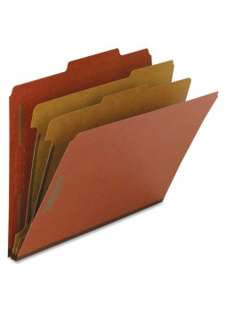 Nature Saver Classification Folder, NAT01051, Red fiber, Letter size, 2 fastener capacity, 2 dividers, Box of 10