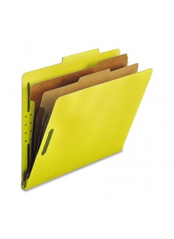 Nature Saver Classification Folder, NATSP17209, Yellow, Letter size, 2 fastener capacity, 2 dividers, Box of 10