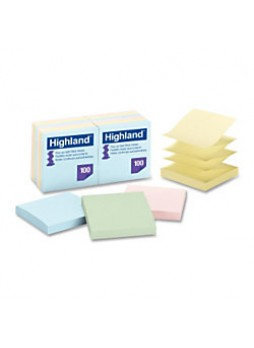 "Highland 6549PUA Pop-up Repositionable Pastel Note, 3"" x 3"", Assorted Pastel, Pack of 12"