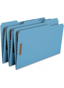 "Smead Blue Colored Fastener File Folders with Reinforced Tabs, Legal size, 0.75"" expansion, 1/3 tab cut, Box of 50"