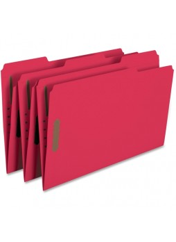 "Smead Red Colored Fastener File Folders with Reinforced Tabs, Legal size, 0.75"" expansion, 1/3 tab cut, Box of 50"