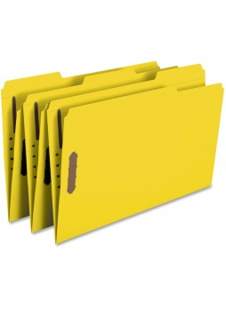 "Smead Yellow Colored Fastener File Folders with Reinforced Tabs, Legal size, 0.75"" expansion, 1/3 tab cut, Box of 50"