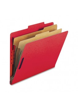"Nature Saver Classification Folder, NATSP17206, Letter size, 2"" fastener capacity, 2 dividers, Red Bright, Box of 10"