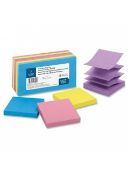 "Post-it R330-12AN Pop-up Cape Town Notes, Repositionable, 3"" x 3"", Assorted colors, pack of 12"